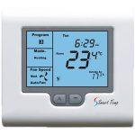 A blue light wall temperature gauge.