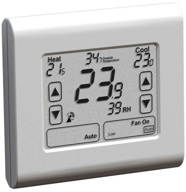 A white thermostat.