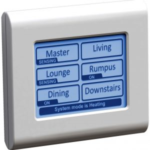 A white, wall-mounted temperature control system.